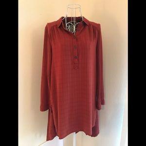 Maeve Burnt Orange Long Sleeved Tunic Shirt Size 6